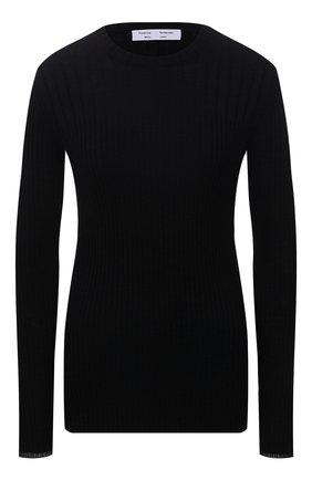 Женский пуловер PROENZA SCHOULER WHITE LABEL черного цвета, арт. WL2137639-KC089   Фото 1 (Материал внешний: Синтетический материал, Хлопок; Длина (для топов): Стандартные; Рукава: Длинные; Стили: Гламурный; Женское Кросс-КТ: Пуловер-одежда)