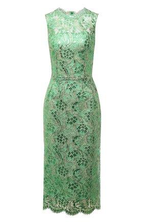 Женское хлопковое платье DOLCE & GABBANA зеленого цвета, арт. F6R5VT/HLM4T   Фото 1 (Материал подклада: Шелк; Материал внешний: Хлопок; Стили: Гламурный; Случай: Вечерний; Женское Кросс-КТ: Платье-одежда; Длина Ж (юбки, платья, шорты): До колена)