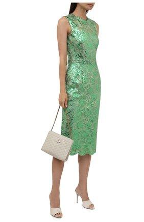 Женское хлопковое платье DOLCE & GABBANA зеленого цвета, арт. F6R5VT/HLM4T   Фото 2 (Материал подклада: Шелк; Материал внешний: Хлопок; Стили: Гламурный; Случай: Вечерний; Женское Кросс-КТ: Платье-одежда; Длина Ж (юбки, платья, шорты): До колена)