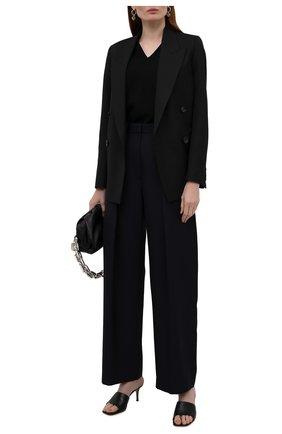 Женские шерстяные брюки VICTORIA BECKHAM темно-синего цвета, арт. 1521WTR002857A | Фото 2