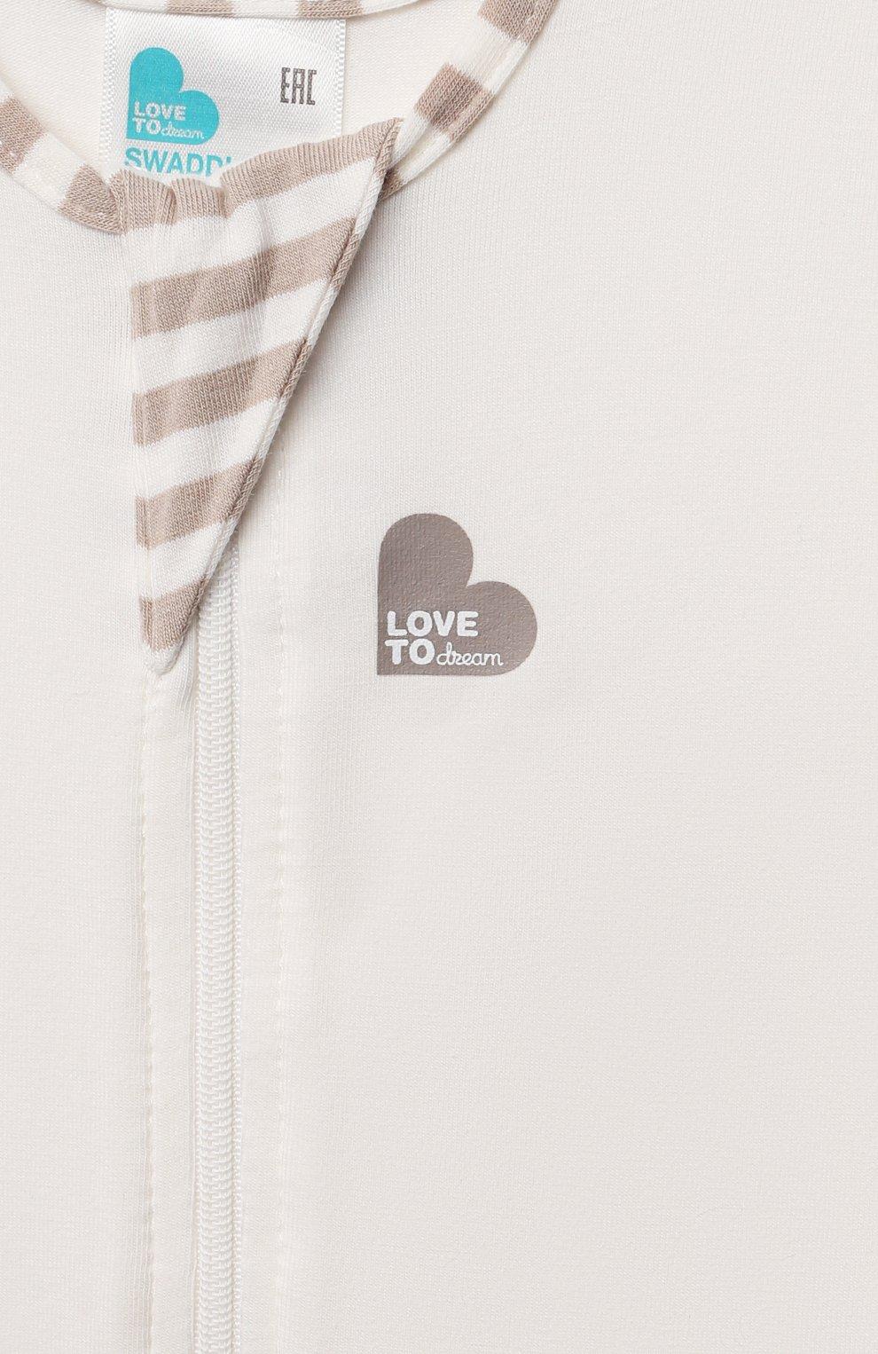 Детский спальный комбинезон LOVE TO DREAM молочного цвета, арт. L10 04 005 CR S | Фото 3 (Рукава: Короткие; Материал внешний: Хлопок; Ростовка одежда: 3 мес | 62 см)