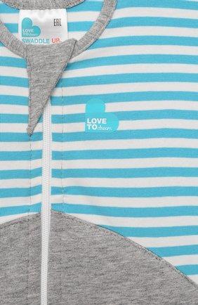 Детский спальный комбинезон LOVE TO DREAM серого цвета, арт. L10 06 043 TQ S | Фото 3 (Рукава: Короткие; Материал внешний: Хлопок; Ростовка одежда: 3 мес | 62 см)