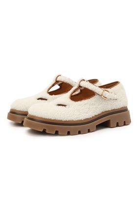 Детские туфли с меховой отделкой GALLUCCI молочного цвета, арт. J20239AM/SC P V G0M MCU | Фото 1 (Материал внутренний: Натуральная кожа; Материал внешний: Натуральный мех)