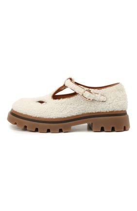 Детские туфли с меховой отделкой GALLUCCI молочного цвета, арт. J20239AM/SC P V G0M MCU | Фото 2 (Материал внутренний: Натуральная кожа; Материал внешний: Натуральный мех)