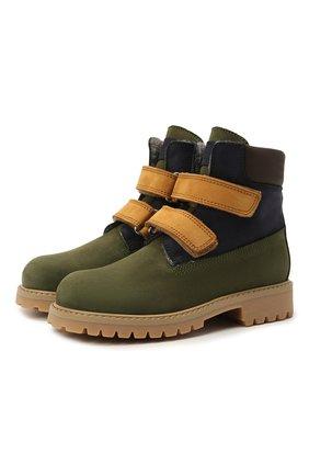 Детские кожаные ботинки GALLUCCI зеленого цвета, арт. J30097AM/TR L G0M NAB/NAB/NAB 1 | Фото 1 (Материал утеплителя: Шерсть)