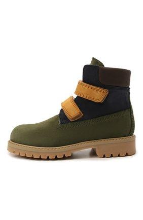 Детские кожаные ботинки GALLUCCI зеленого цвета, арт. J30097AM/TR L G0M NAB/NAB/NAB 1 | Фото 2 (Материал утеплителя: Шерсть)