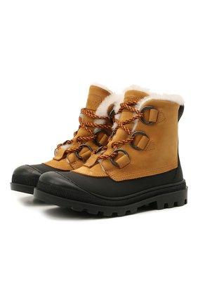 Детские кожаные ботинки GALLUCCI коричневого цвета, арт. J30115BM/TR S S G0M G0M/NAB   Фото 1 (Материал утеплителя: Натуральный мех)