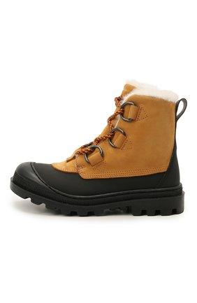 Детские кожаные ботинки GALLUCCI коричневого цвета, арт. J30115BM/TR S S G0M G0M/NAB   Фото 2 (Материал утеплителя: Натуральный мех)