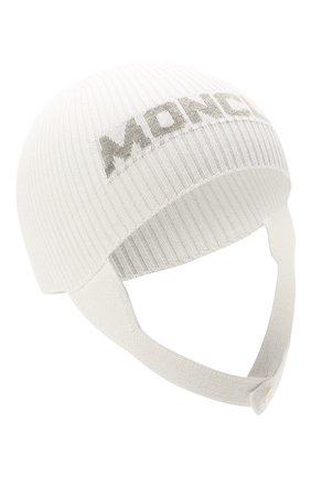 Детского хлопковая шапка MONCLER белого цвета, арт. G2-951-9Z714-00-V9217 | Фото 1