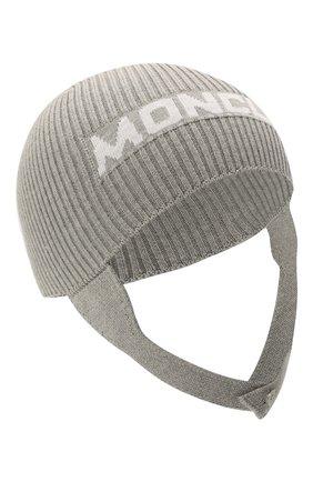 Детского хлопковая шапка MONCLER серого цвета, арт. G2-951-9Z714-00-V9217 | Фото 1