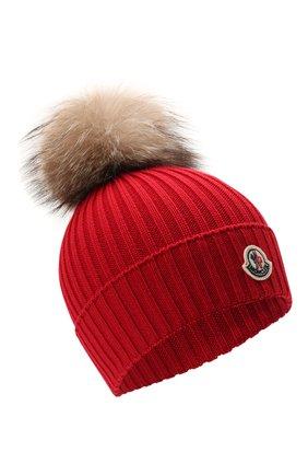 Детского шерстяная шапка MONCLER красного цвета, арт. G2-954-3B711-10-04S01 | Фото 1