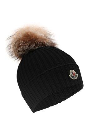 Детского шерстяная шапка MONCLER черного цвета, арт. G2-954-3B711-10-04S01 | Фото 1