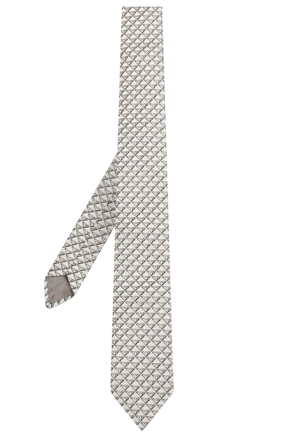 Детский шелковый галстук EMPORIO ARMANI серого цвета, арт. 409525/1A920   Фото 2 (Материал: Текстиль, Шелк)