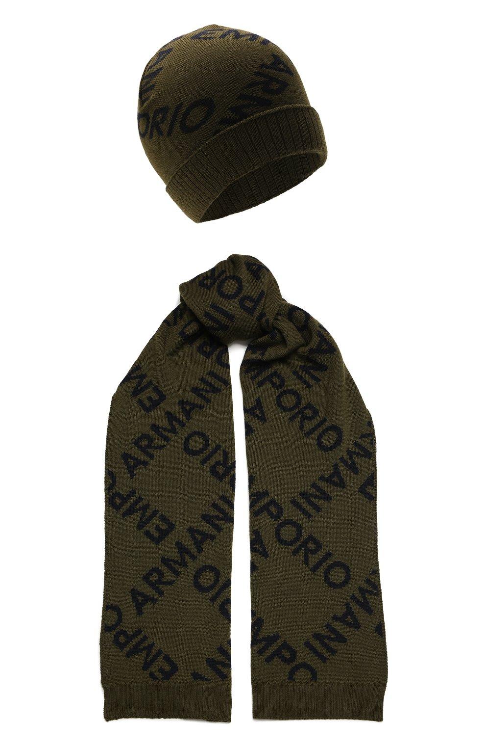 Детский комплект из шапки и шарфа EMPORIO ARMANI хаки цвета, арт. 407513/1A765 | Фото 1 (Материал: Шерсть)
