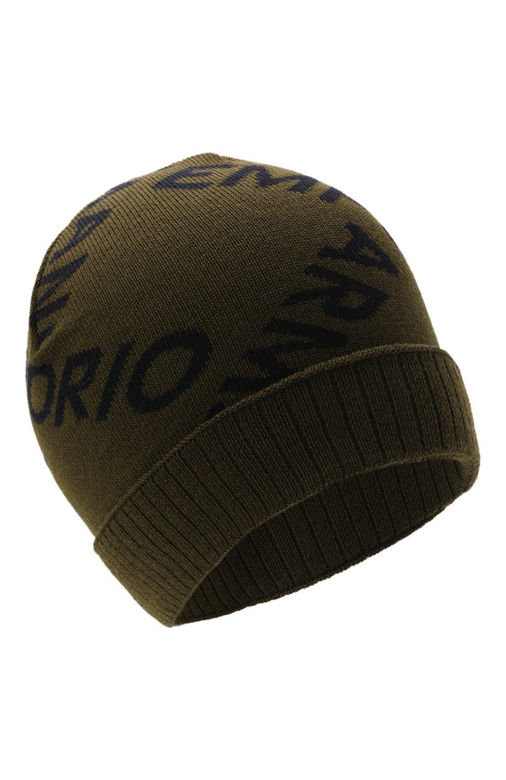 Детский комплект из шапки и шарфа EMPORIO ARMANI хаки цвета, арт. 407513/1A765 | Фото 2 (Материал: Шерсть)