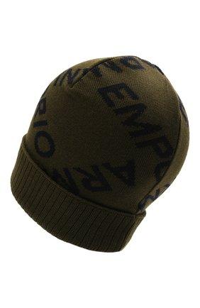 Детский комплект из шапки и шарфа EMPORIO ARMANI хаки цвета, арт. 407513/1A765 | Фото 3 (Материал: Шерсть)