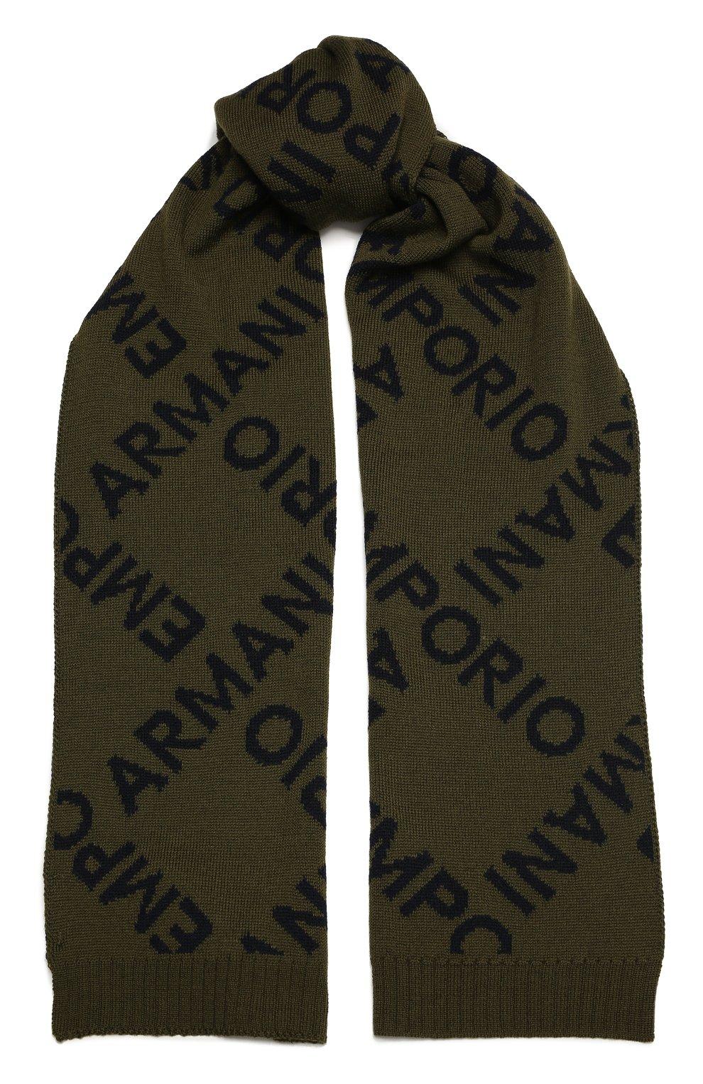Детский комплект из шапки и шарфа EMPORIO ARMANI хаки цвета, арт. 407513/1A765 | Фото 5 (Материал: Шерсть)