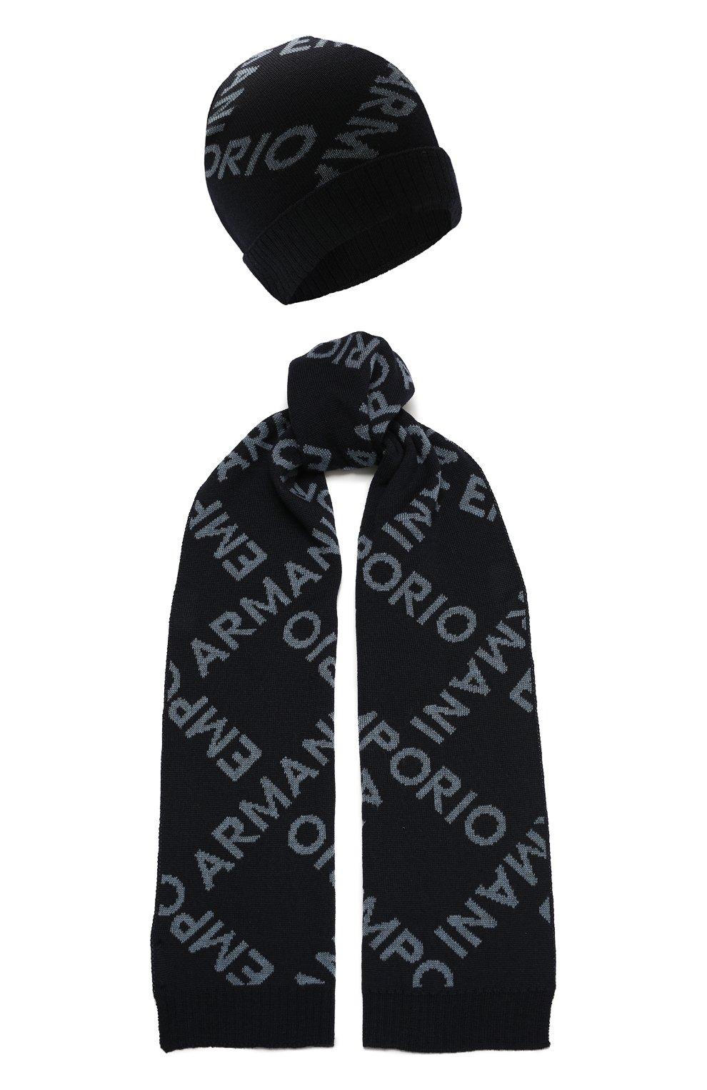 Детский комплект из шапки и шарфа EMPORIO ARMANI синего цвета, арт. 407513/1A765   Фото 1 (Материал: Шерсть)