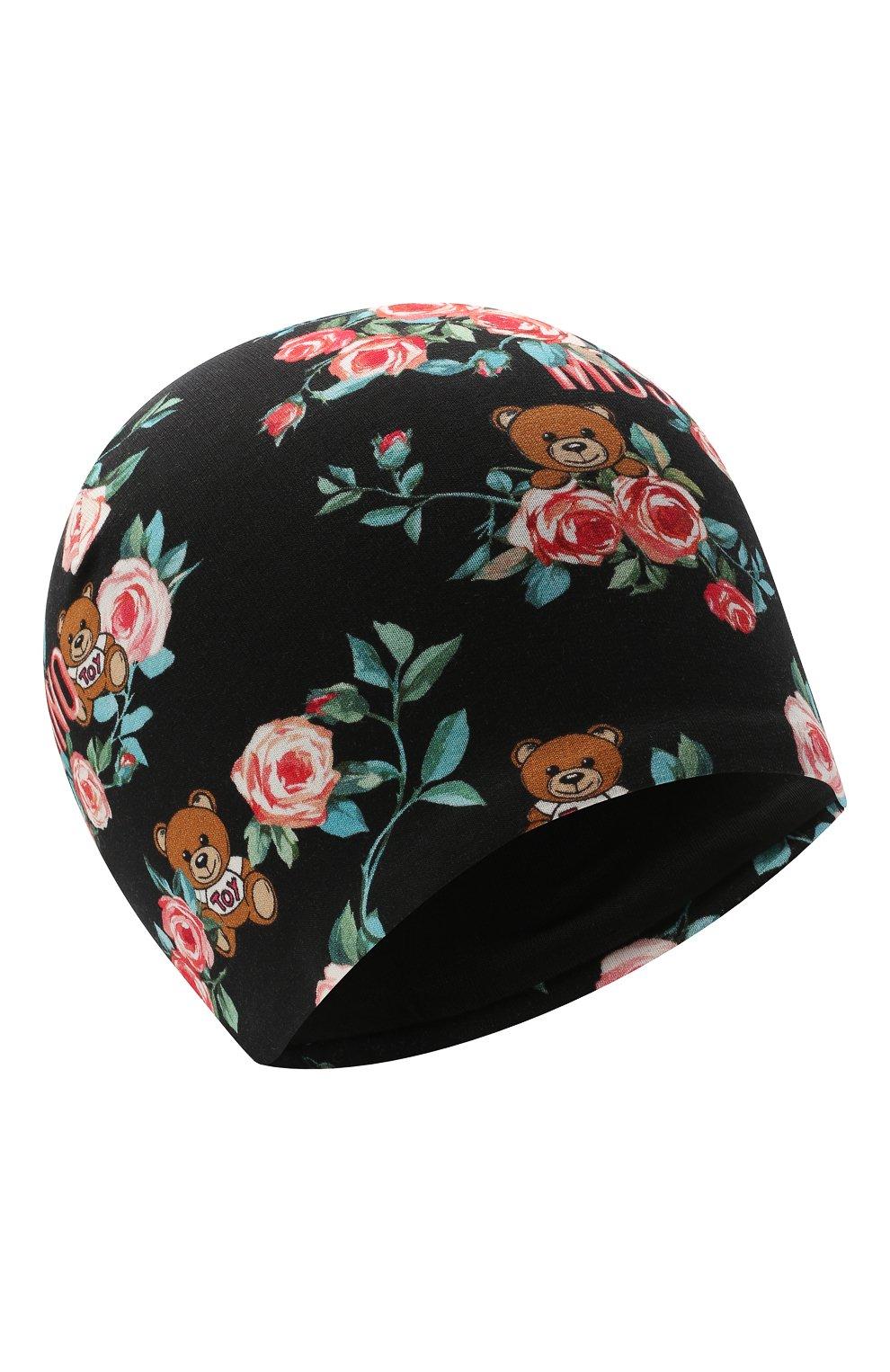 Детского хлопковая шапка MOSCHINO черного цвета, арт. HDX010/LDB69   Фото 1 (Материал: Текстиль, Хлопок)
