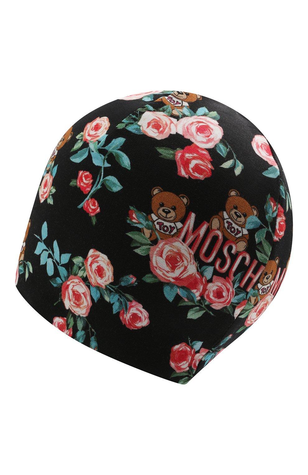 Детского хлопковая шапка MOSCHINO черного цвета, арт. HDX010/LDB69   Фото 2 (Материал: Текстиль, Хлопок)