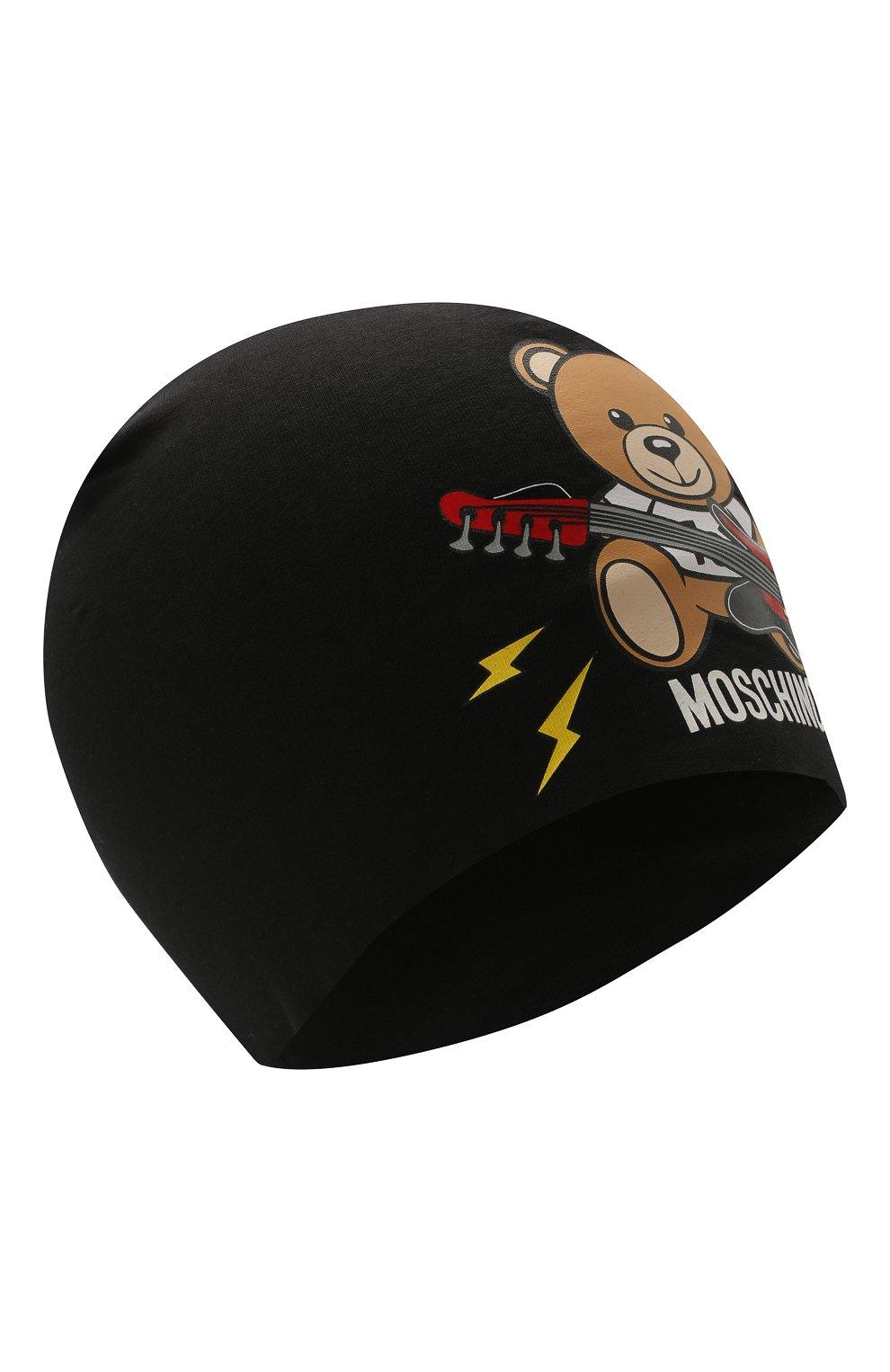 Детского хлопковая шапка MOSCHINO черного цвета, арт. HPX00Z/LDA16 | Фото 1 (Материал: Текстиль, Хлопок)