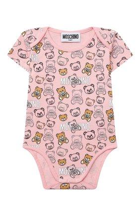 Детское комплект из двух боди MOSCHINO розового цвета, арт. MSY017/LAB27 | Фото 2 (Рукава: Короткие; Материал внешний: Хлопок; Ростовка одежда: 0 - 3 мес | 50 - 60 см, 12 мес | 80 см, 3 мес | 62 см, 6 мес | 68 см, 9 мес | 74 см)