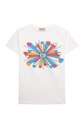 Детская хлопковая футболка GUCCI белого цвета, арт. 610190/XJDNU | Фото 1