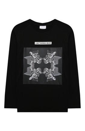 Детская хлопковый лонгслив BURBERRY черного цвета, арт. 8042954 | Фото 1