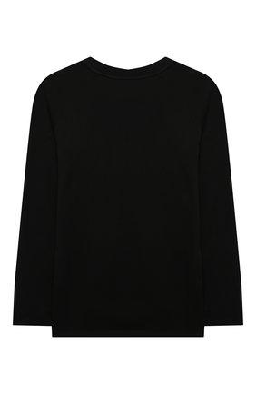 Детская хлопковый лонгслив BURBERRY черного цвета, арт. 8042954 | Фото 2