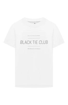 Детская хлопковая футболка BRUNELLO CUCINELLI белого цвета, арт. BH894S152B | Фото 1 (Материал внешний: Хлопок; Рукава: Короткие; Девочки Кросс-КТ: футболка-одежда; Ростовка одежда: 10 - 11 лет | 140 - 146см, 8 лет | 128 см)