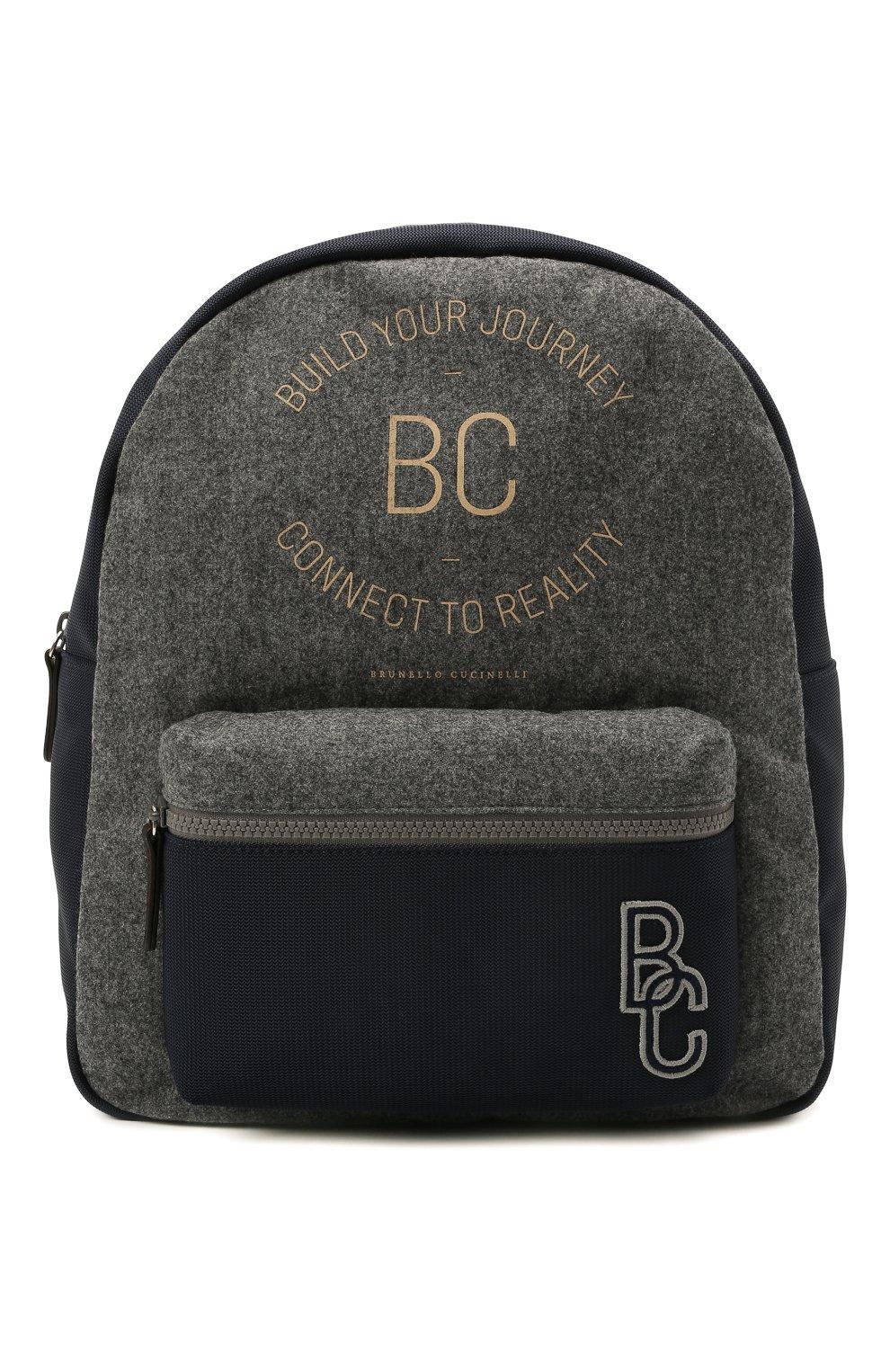 Детская шерстяной рюкзак BRUNELLO CUCINELLI серого цвета, арт. BNPLLB105   Фото 1 (Материал: Текстиль)