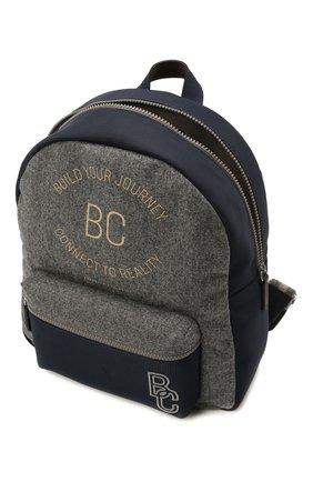 Детская шерстяной рюкзак BRUNELLO CUCINELLI серого цвета, арт. BNPLLB105   Фото 3 (Материал: Текстиль)