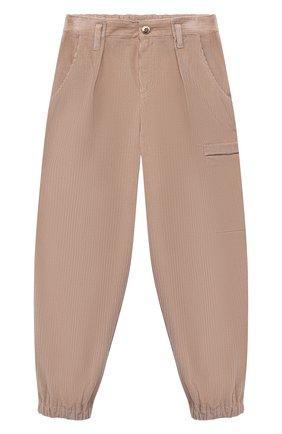 Детские хлопковые брюки BRUNELLO CUCINELLI розового цвета, арт. BB022P037B | Фото 1 (Материал внешний: Хлопок; Девочки Кросс-КТ: Брюки-одежда; Ростовка одежда: 10 - 11 лет | 140 - 146см, 8 лет | 128 см)