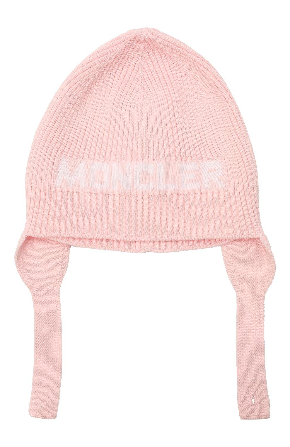 Детского хлопковая шапка MONCLER розового цвета, арт. G2-951-9Z714-00-V9217 | Фото 1 (Материал: Текстиль, Хлопок)