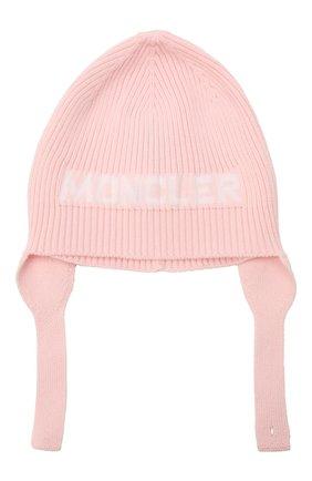 Детского хлопковая шапка MONCLER розового цвета, арт. G2-951-9Z714-00-V9217 | Фото 1