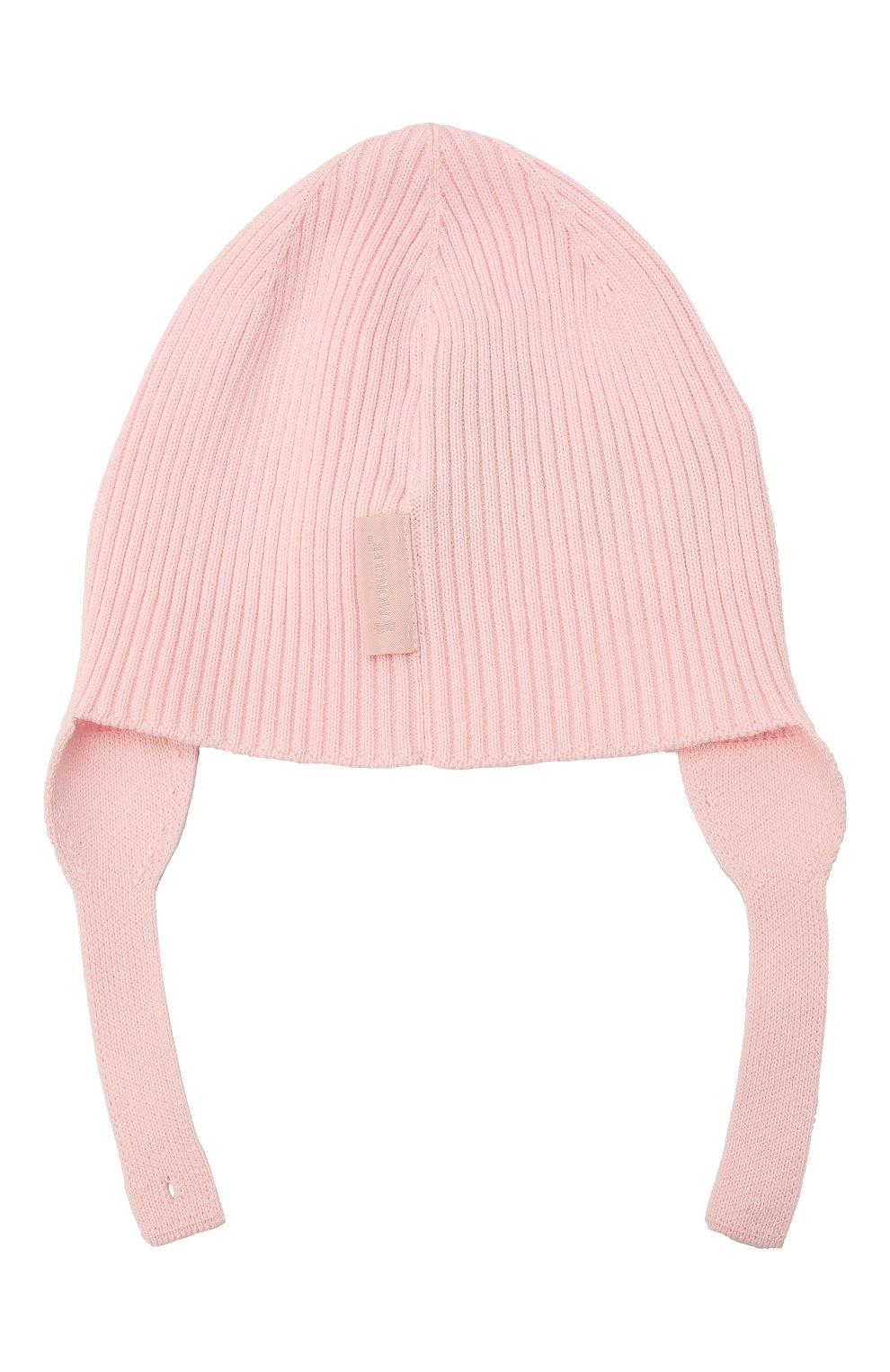 Детского хлопковая шапка MONCLER розового цвета, арт. G2-951-9Z714-00-V9217 | Фото 2 (Материал: Текстиль, Хлопок)