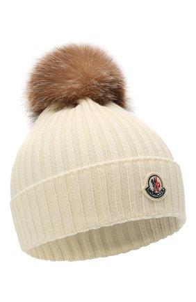 Детского шерстяная шапка с мехом MONCLER белого цвета, арт. G2-954-3B711-10-04S01 | Фото 1 (Материал: Шерсть)