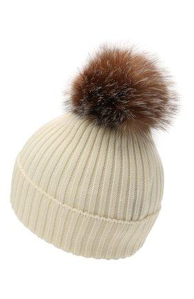 Детского шерстяная шапка с мехом MONCLER белого цвета, арт. G2-954-3B711-10-04S01 | Фото 2 (Материал: Шерсть)