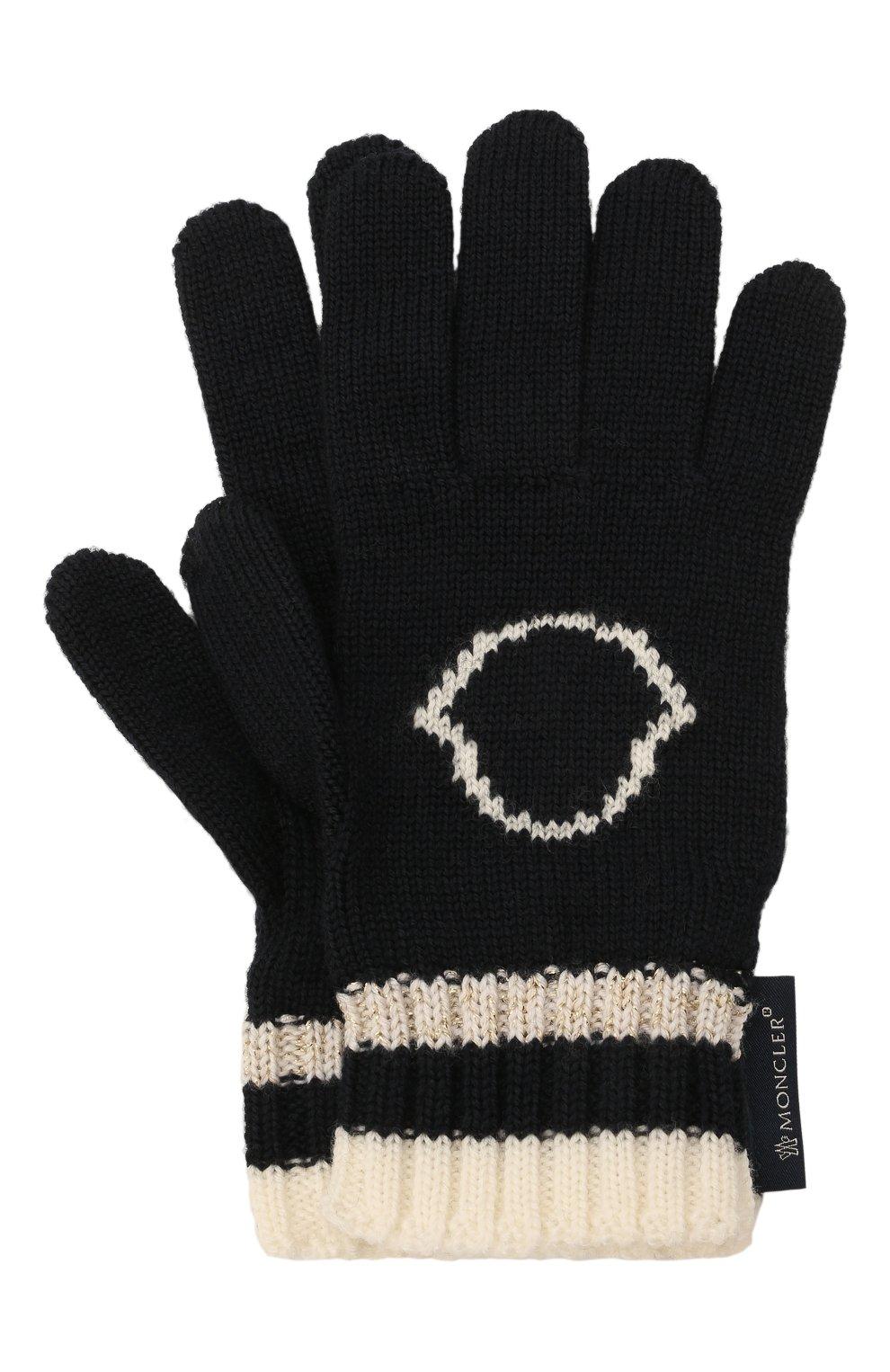 Детские шерстяные перчатки MONCLER темно-синего цвета, арт. G2-954-9Z727-10-A9634 | Фото 1 (Материал: Шерсть)