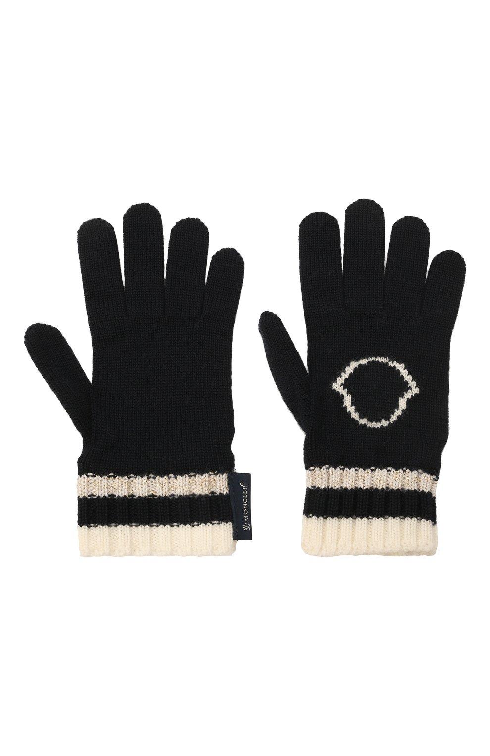 Детские шерстяные перчатки MONCLER темно-синего цвета, арт. G2-954-9Z727-10-A9634 | Фото 2 (Материал: Шерсть)