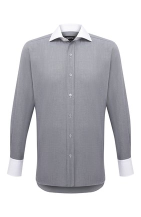 Мужская хлопковая сорочка TOM FORD серого цвета, арт. 2FT620/94SWAX | Фото 1 (Длина (для топов): Стандартные; Материал внешний: Хлопок; Рукава: Длинные; Случай: Формальный; Стили: Классический; Воротник: Акула; Рубашки М: Regular Fit; Манжеты: На пуговицах; Принт: С принтом)