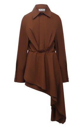 Женское хлопковое платье THE ATTICO коричневого цвета, арт. 213WCA83/C017 | Фото 1