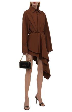 Женское хлопковое платье THE ATTICO коричневого цвета, арт. 213WCA83/C017 | Фото 2