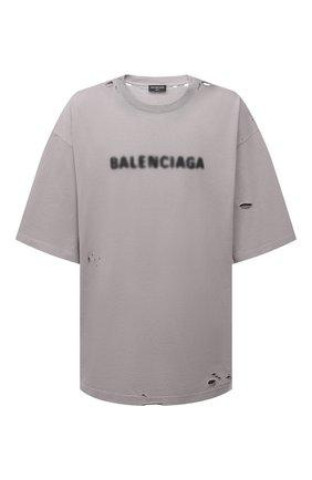 Мужская хлопковая футболка BALENCIAGA серого цвета, арт. 661715/TKVD5   Фото 1