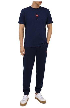 Мужская хлопковая футболка HUGO темно-синего цвета, арт. 50448452 | Фото 2