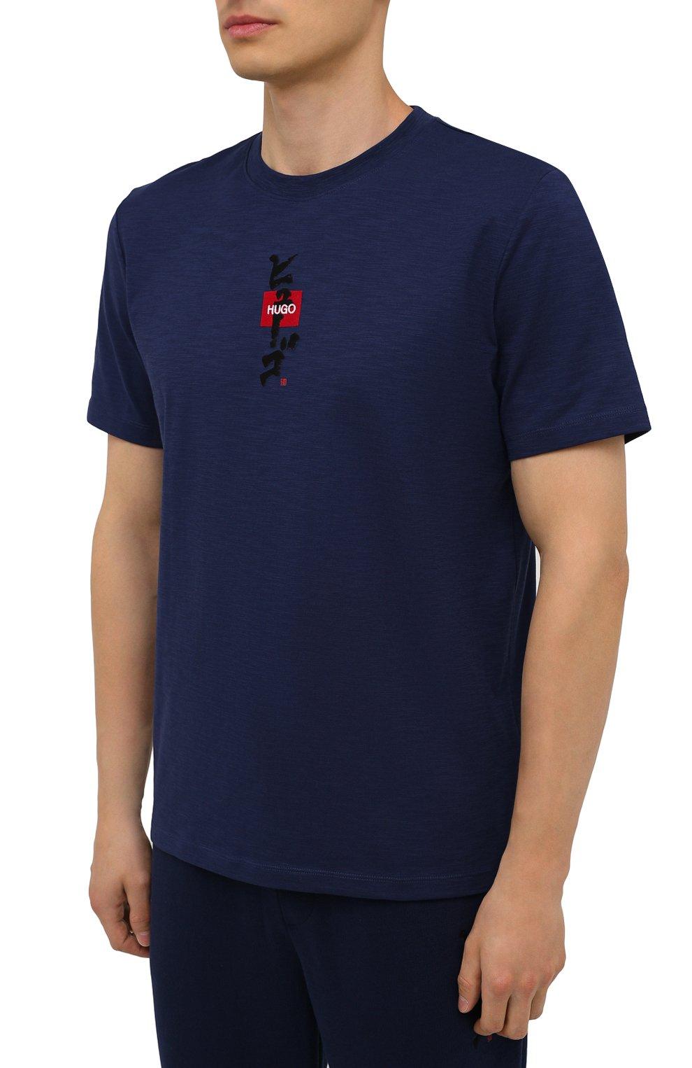 Мужская хлопковая футболка HUGO темно-синего цвета, арт. 50448452 | Фото 3 (Принт: Без принта; Рукава: Короткие; Длина (для топов): Стандартные; Материал внешний: Хлопок; Стили: Спорт-шик)