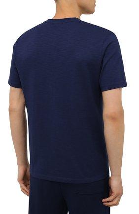 Мужская хлопковая футболка HUGO темно-синего цвета, арт. 50448452 | Фото 4 (Принт: Без принта; Рукава: Короткие; Длина (для топов): Стандартные; Материал внешний: Хлопок; Стили: Спорт-шик)