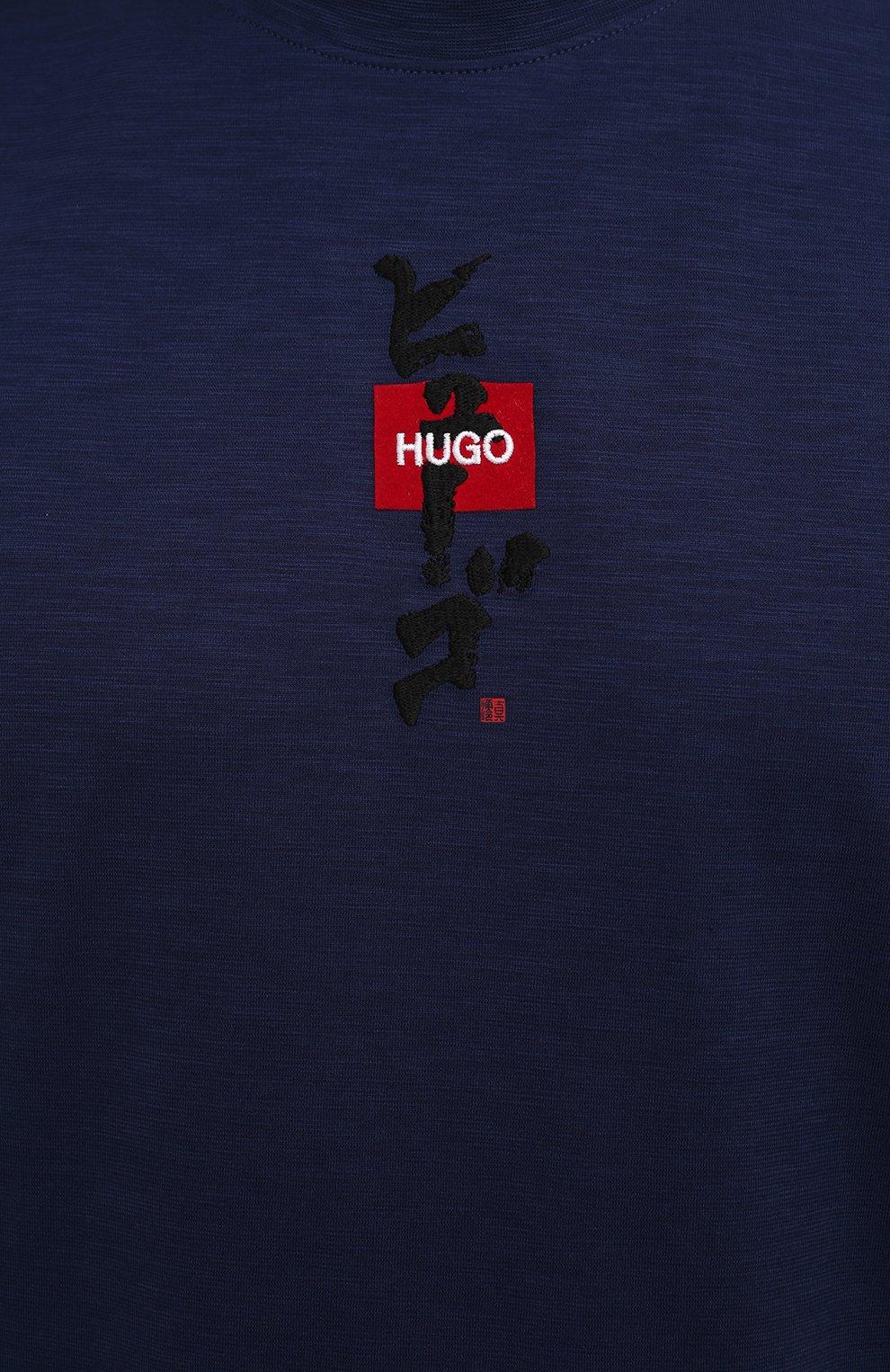 Мужская хлопковая футболка HUGO темно-синего цвета, арт. 50448452 | Фото 5 (Принт: Без принта; Рукава: Короткие; Длина (для топов): Стандартные; Материал внешний: Хлопок; Стили: Спорт-шик)