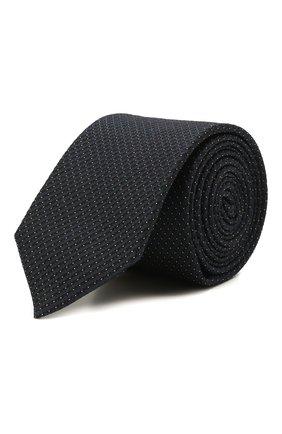 Мужской шелковый галстук BOSS темно-синего цвета, арт. 50461017 | Фото 1 (Материал: Шелк, Текстиль; Принт: С принтом)