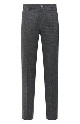 Мужские шерстяные брюки BOSS серого цвета, арт. 50460306 | Фото 1 (Длина (брюки, джинсы): Стандартные; Материал внешний: Шерсть; Случай: Повседневный; Стили: Кэжуэл)
